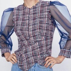 ZARA Tweed & Organza Puff Sleeve Blouse